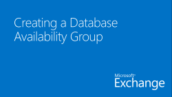 Creating a Database Availability Group