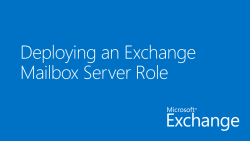 Deploying an Exchange Mailbox Server Role