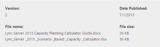 Microsoft Lync Server 2013 Capacity Calculator